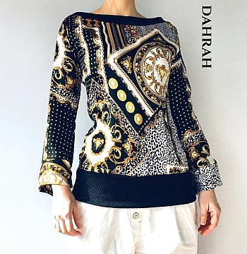 Beautiful and exclusive Dahrah Fashion summer blouse realized in 100% Italian silk, with gold unique patterns on black background.
