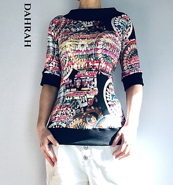 "Beautiful Dahrah woman cotton jersey T-shirt with black and pink colorful pattern ""ethnic style""."