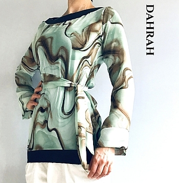Beautiful Dahrah woman blouse in mint green georgette with brwon abstract pattern, wears like a wrap dress with a belt.