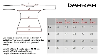 Dahrah Fashion size chart